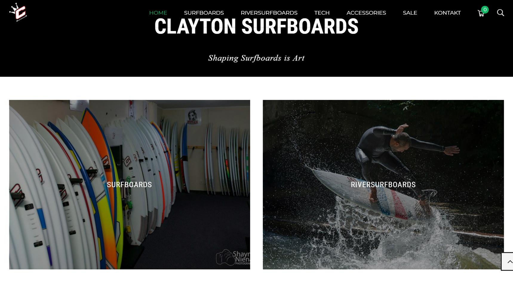 screenshot homepage clayton surfshop