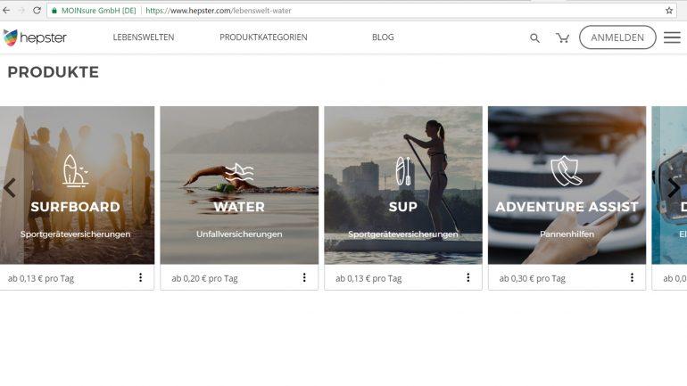 hepster lifestyle versicherung - produktauswahl für surfer
