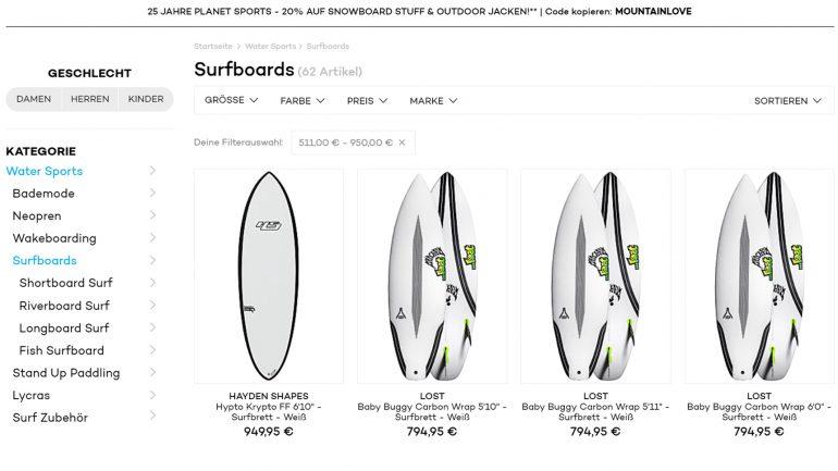 planet sports produktangebot surfboards
