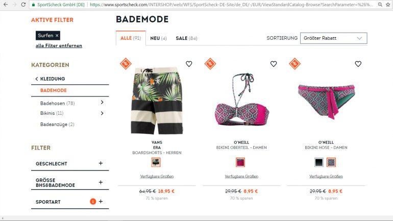 bewertung produktauswahl sortiment von sportscheck für surfer mit rabatt