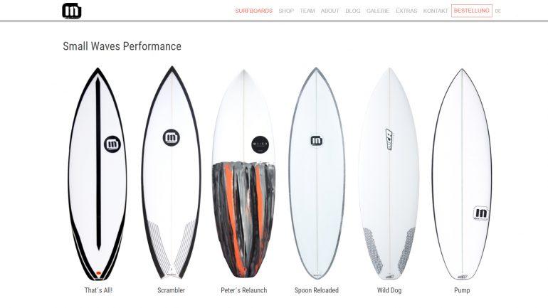 produktauswahl bei mica surfboards
