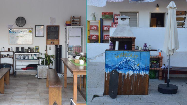 bar und essensbereich außen im surfcamp ericeira