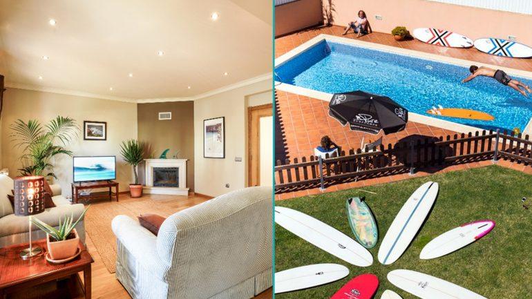 wohnzimmer und pool in der santa cruz surflodge