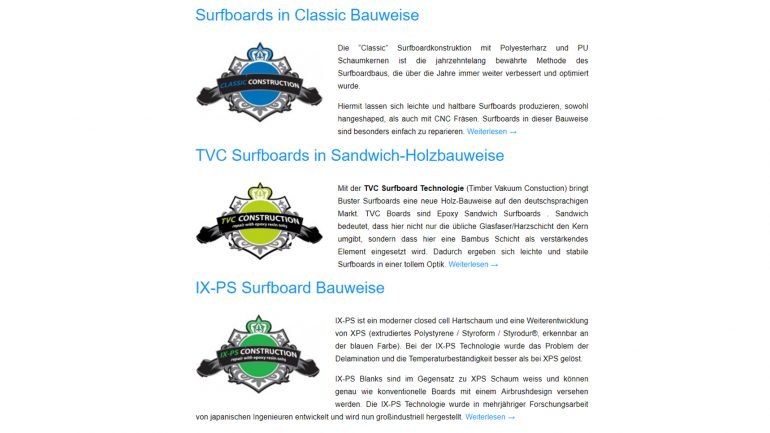 buster surfboards produktauswahl