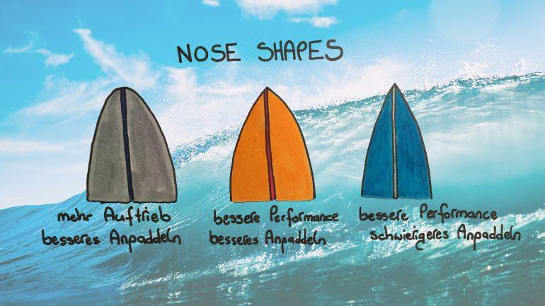 aufbau eines surfbretts - verschiedene möglichkeiten des nose shapes