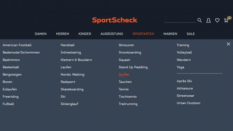 sportartenauswahl im online surfshop sportscheck.de
