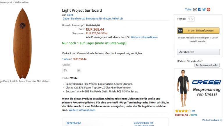 Light Project Surfboard bei Amazon im Angebot reduziert