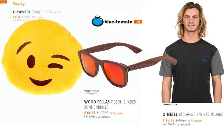 blue tomato sale aktion mit oneill rashguard emoji kissen und wood fellas sonnenbrille