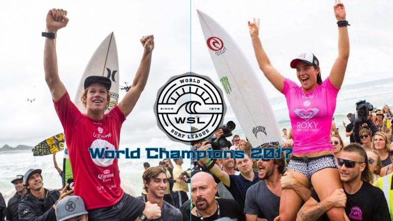 die WSL Champions 2017 John John Florence und Tyler Wright