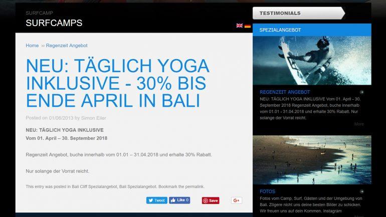 reegenzeit surf-angebot im rapture surfcamp bali minus 30 %