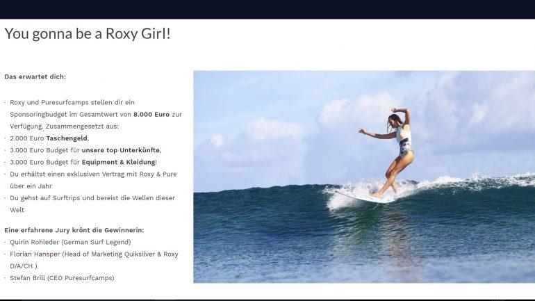 roxy sponsor-vertrag gewinnen und als Surferin um die Welt reisen