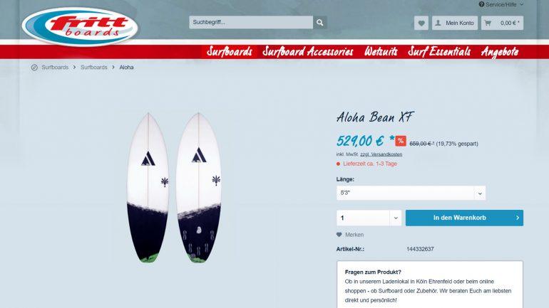 Aloha Hybrid Epoxy Surfboard billiger und reduziert im Frittboards surfshop