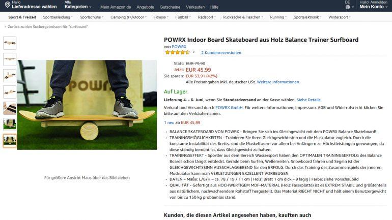 der indoor balance board trainer von Powrx reduziert bei amazon