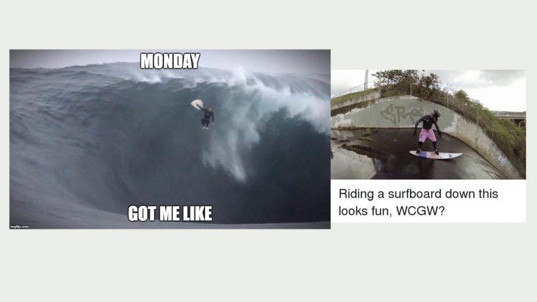 wenn dich der Montag umhaut surfer meme