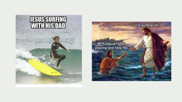 surf memes jesus surft mit seinem vater
