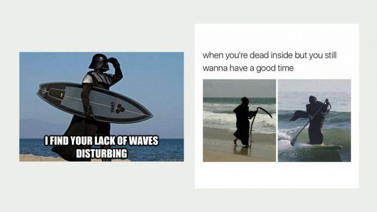 darth vader und der tot surfen - surfer meme