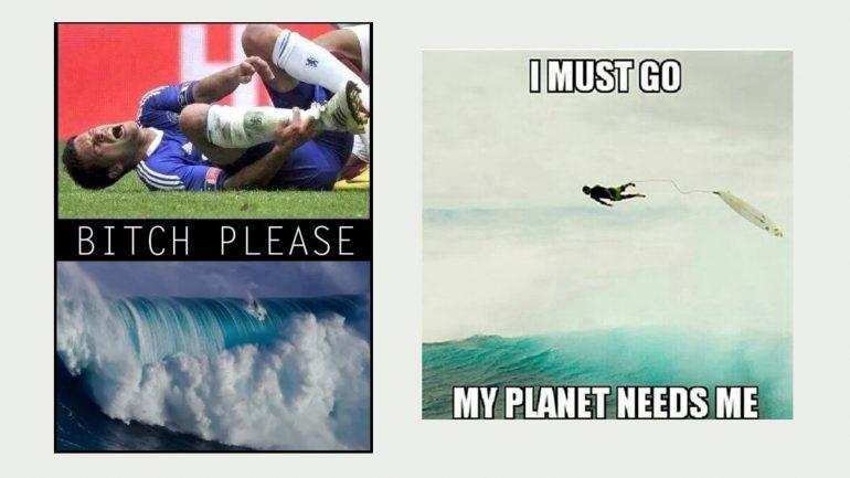 surfer vs. fußballer meme
