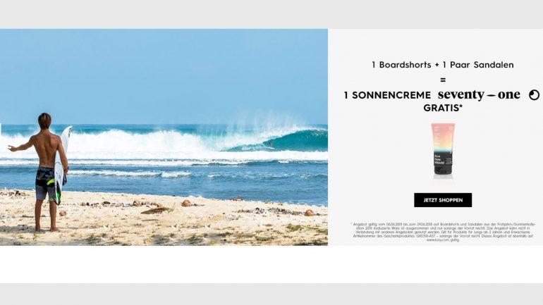 gratis sonnencreme im roxy und quiksilver online surfshop für deine bestellung
