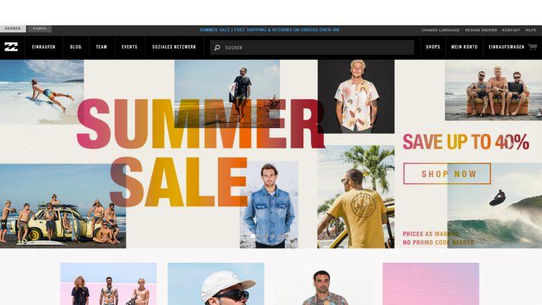 billabong summer sale 2018 mit gratis versand ab 40 € bestellwert surfen