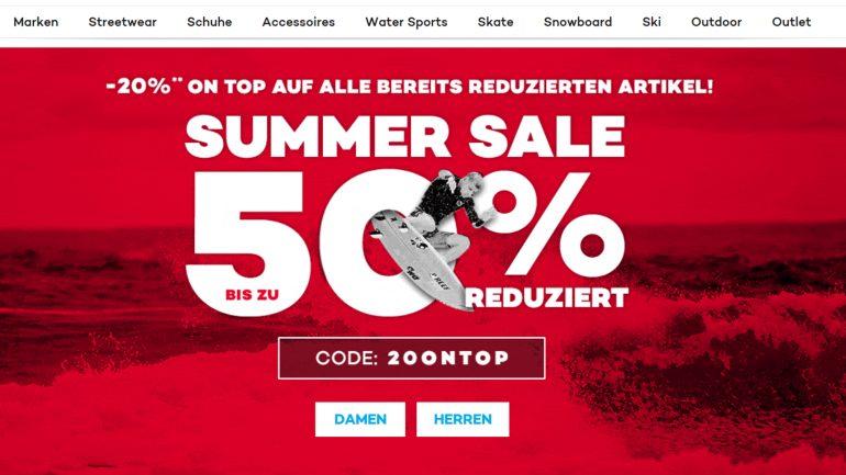 planet sports rabatt aktion für surfer minus 20 prozent auf reduzierte artikel des summer sale 2018