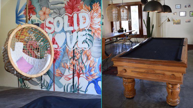 relax lounge und billard im solid surfcamp aufenthaltsraum
