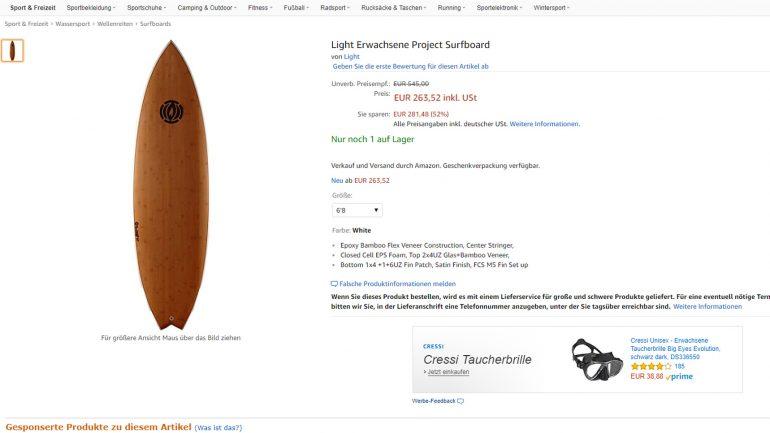 light epoxy surfboard billiger als halber preis bei amazon