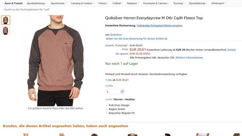 Quiksilver Surfer Fleece Sweater halber Preis bei Amazon