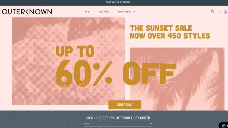 sunset sale für surfer bei outerknown reduziert
