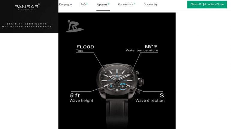 Pansar smartwatch für surfer auf kickstarter