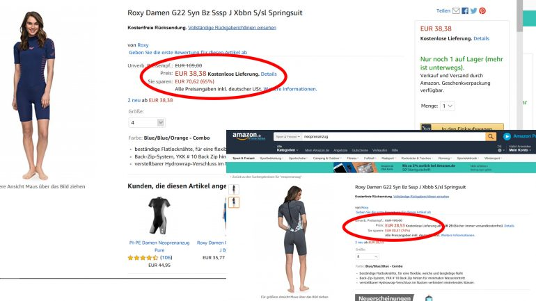 roxy wetsuits kurzärmlig bei amazon preisreduziert