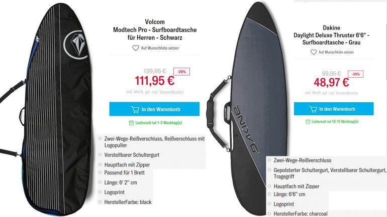 boardbag sale für surfbretter und surfboards bei planet sports