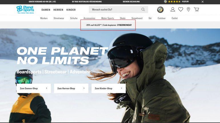 20 % Rabatt auf das gesamte Planet Sports Sortiment fuer Surfer und Boarder am Cybermonday