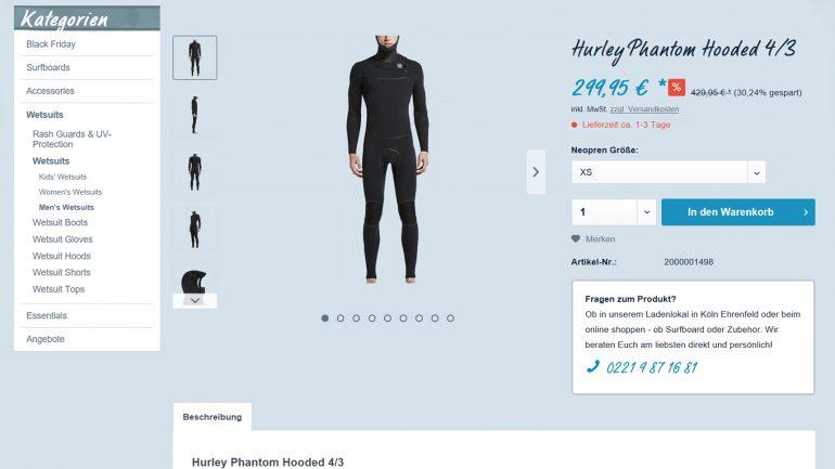 hurley phantom Neoprenanzug für Surfer billiger bei frittboards
