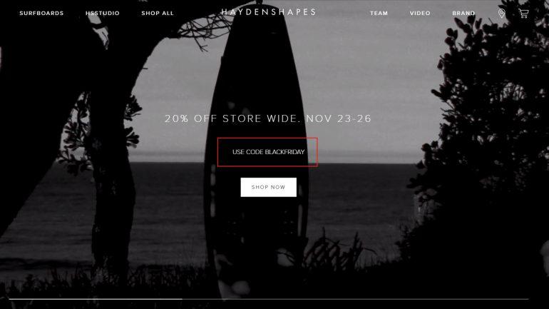 minus 20 % auf Surfboards im Haydenshapes black friday angebot