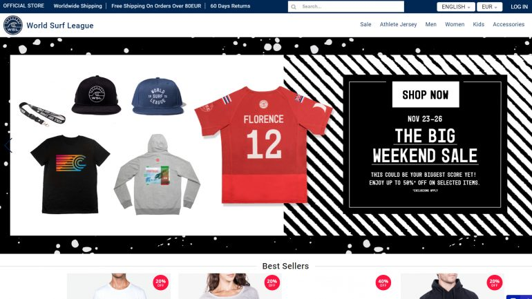 World Surf League Webshop mit Black Friday angeboten für Surfer
