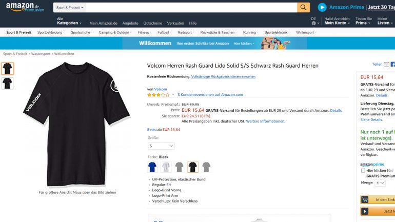 billiges volcom rashguard neopren-shirt für surfer bei amazon
