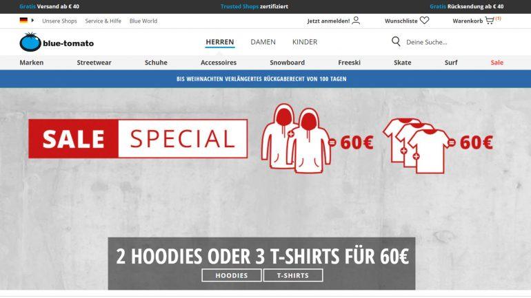 blue tomato weihnachtsangebot für surfer mit tshirts und hoodies in der menge billiger