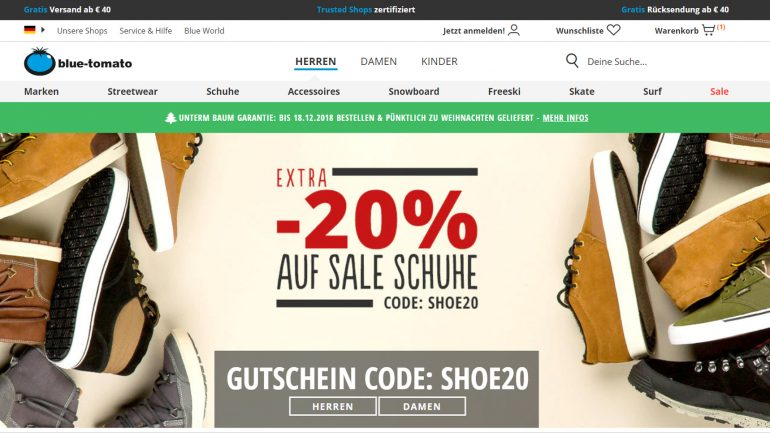 20 % Extra Rabatt auf alle Schuhe bei Blue Tomato mit Gutschein Code