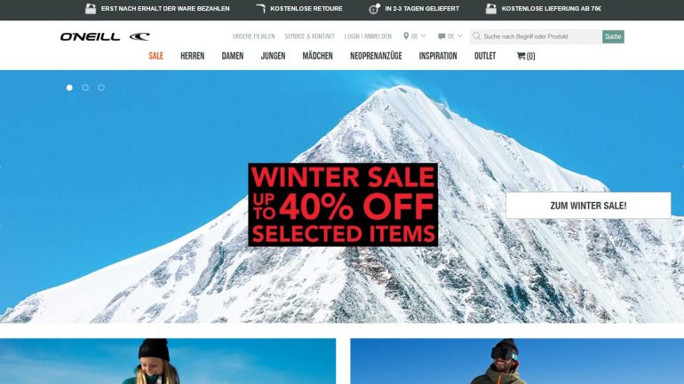 O'Neill Wintersale mit rabatten von bis zu 40 prozent auf snowwear streetwear und surf-equipment