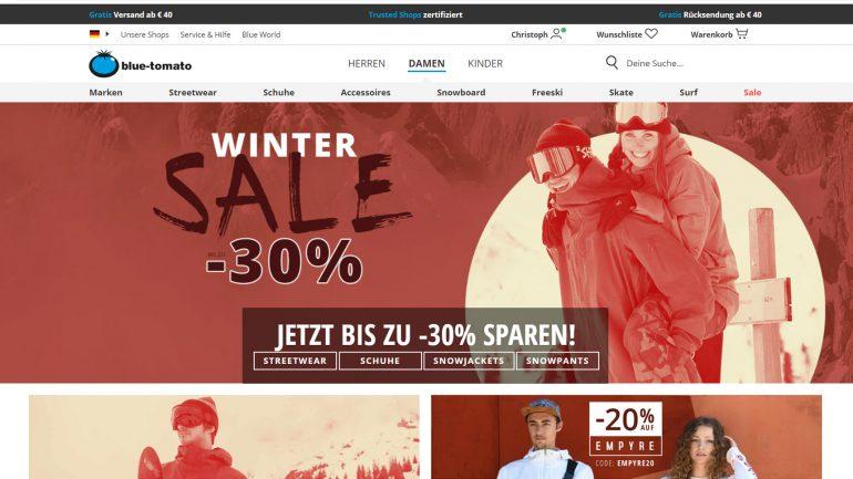 wintersale bei blue tomato für surfer und snowboarder mit 30 % billigeren Artikeln