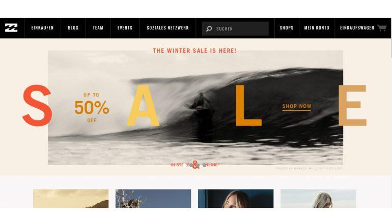 wintersale bei billabong.de mit tollen angeboten für surfer, neoprenanzüge und streetwear