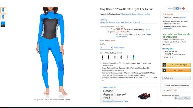 roxy wetsuit für surferinnen billiger und preisreduziert im amazon angebot