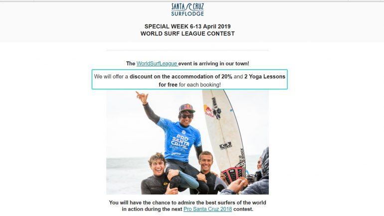 wsl in santa cruz - spezialangebot der surflodge 2019
