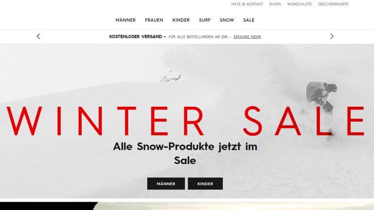 quiksilver winter sale für surfer mit billigen aktionen