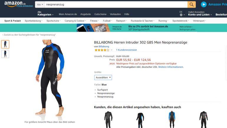 Billabong intruder Neoprenanzug für Surfer deutlich preisreduziert im Angebot bei Amazon