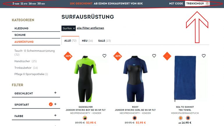 10 euro rabattcode für surfer im sportscheck online shop