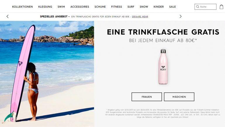 gratis roxy trinkflasche für alle einkäufe ab 80 euro bestellwert