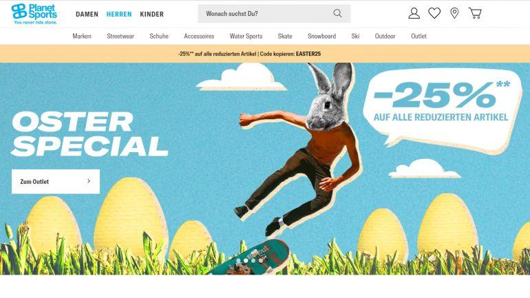 planet sports osteraktion - 25 % rabatt auf alle reduzierten produkte mit gutschein-code EASTER25