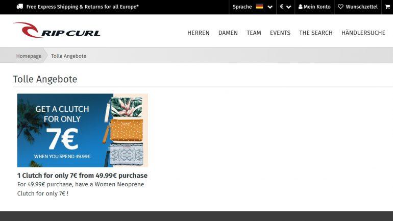 ripcurl neopren-clutch um nur 7 € bei einem einkauf von 50 € oder mehr