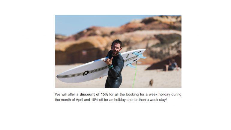 10 prozent rabatt für buchungen in der santa cruz surflodge im april 2019